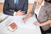 Two young architects in the meeting — Stock Photo