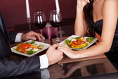 Couple at romantic dinner in restaurant — Stok fotoğraf