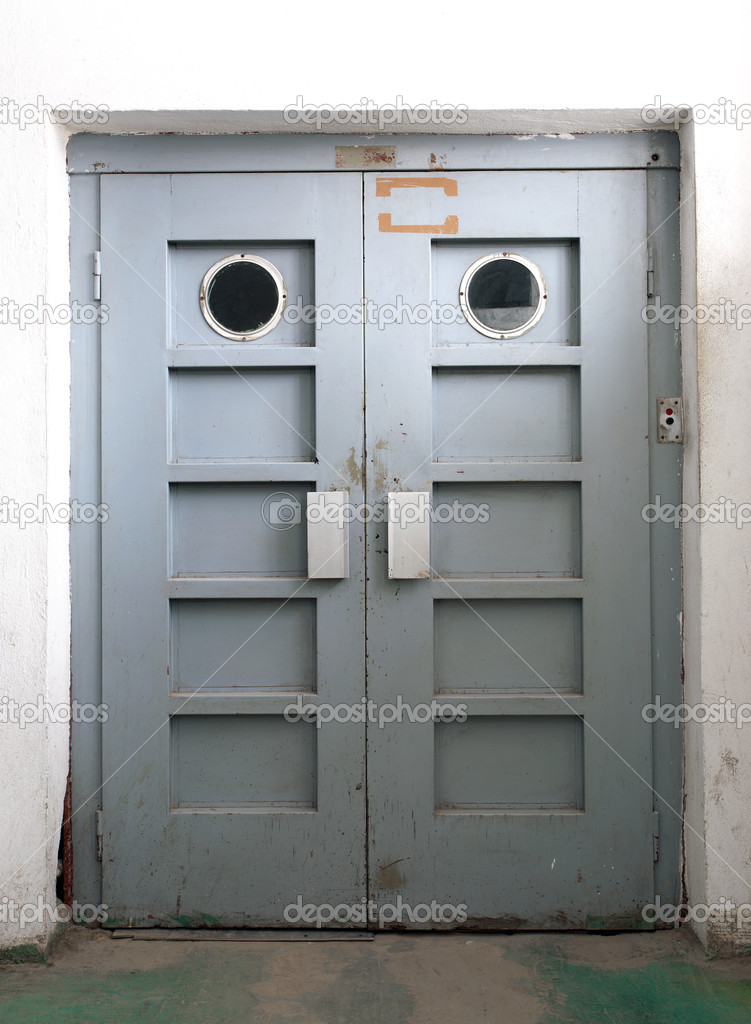 Just a door, old elevatro door inside factory. — Stock Photo #8842007
