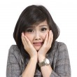 Scared young business woman on white background — Stock Photo