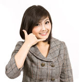 Geste d'entreprise jeune femme faisant appel — Photo