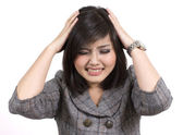 Young business woman headache — Stock Photo