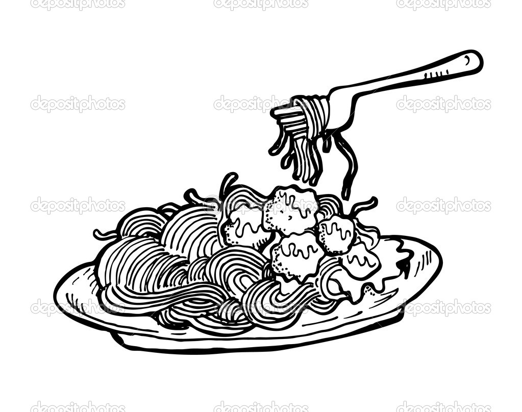 Spaghetti Noodles Clipart Black And White Spaghetti doodle - stock