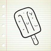Ice cream stick doodle — Stock Vector