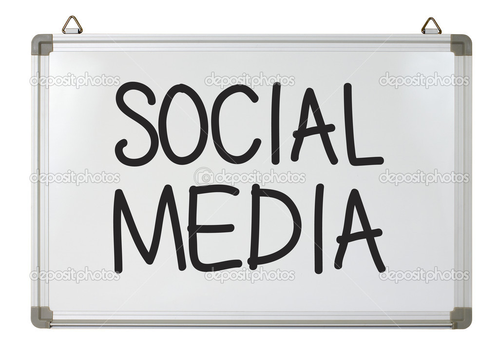 Social media word written on whiteboard — Stock Photo #9762590
