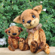 Teddy bear, fox cub and flowers - Stock Photo