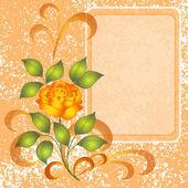 Achtergrond met roos en plakkaat — Stockfoto