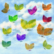 Royalty-Free Stock Photo: Butterflies from leaves and sky