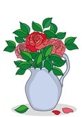 Jug with roses — Stock Vector