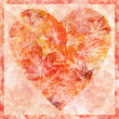 Heart from leaves, watercolor — Stock Photo