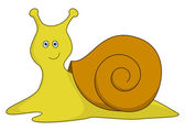 Snail with a brown bowl — Stock Photo