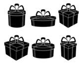 Lådor, svarta siluetter — Stockvektor