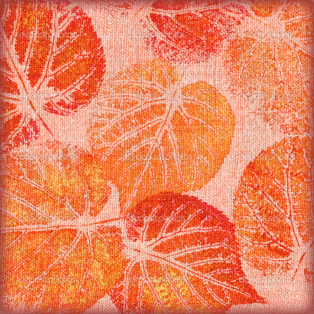 Abstract background, hand draw, red and orange leaves on canvas  Foto de Stock   #9136532