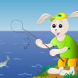 Royalty-Free Stock Photo: Hare fishing, fish is left
