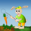 Rabbit fishing carrot — ストック写真