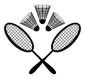 Equipment for the badminton, silhouette — Stok fotoğraf