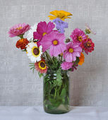 Flowers and canvas — Stock Photo