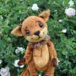Ron fox cub and flowers — Stock Photo