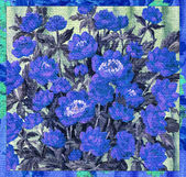 Flowers blue on a canvas — Stock Photo