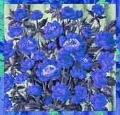 Bloemen blauw op een doek — Stockfoto