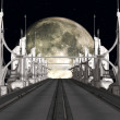 Sci-Fi Background with a bridge — Stock Photo