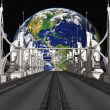 Sci-Fi Background with a bridge — Stockfoto