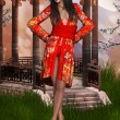 Oriental beauty with kimono - Stock Photo