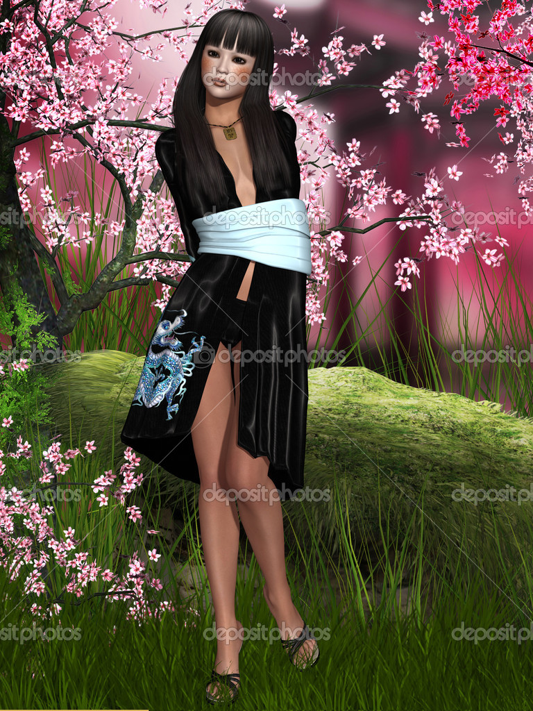 3d render of a oriental beauty with kimono  Stock Photo #8865677