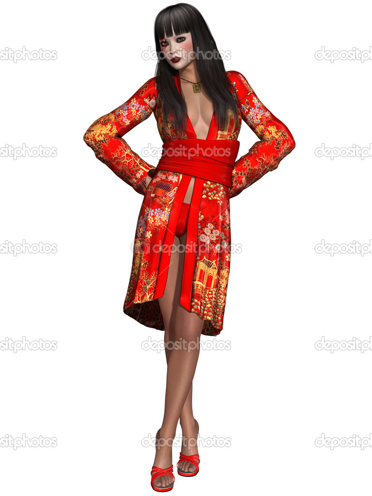 3d render of a oriental beauty with kimono — Stock Photo #8865730