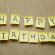 Happy birthday written on memo — Foto de Stock