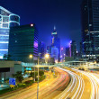 hong kong downtown with traffic at night — Stock Photo