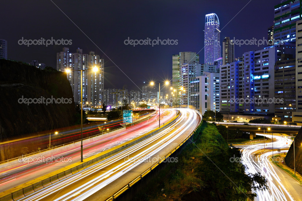 Traffic in city at night  Stock Photo #8265394