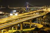 Freeway and bridge at night — Stock Photo