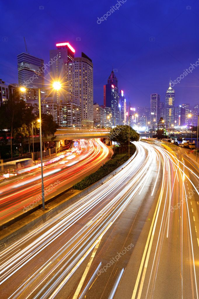 Traffic in downtown at night — Stock Photo #8473355