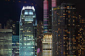 Details of business buildings at night in Hong Kong — Stock Photo