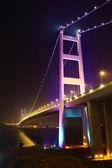 Tsing Ma Bridge at night — Stock Photo