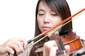 Woman play violin — Stock Photo