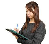 Woman write report — Stock Photo