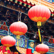 Stock Photo: Red lantern in chinese temple