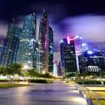 skyline van singapore's nachts — Stockfoto #9178876