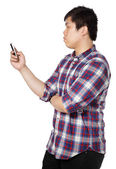 Man writing message on mobile phone — Stock Photo