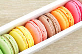 Macaron in paper box — Stock Photo