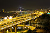 Freeway and bridge at night — Stock Photo