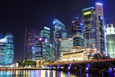 Cityscape of Singapore at night — Stockfoto