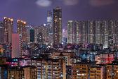 Hong Kong crowded urban city at night — Stock Photo