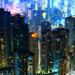 Hong Kong with crowded buildings at night — Stock Photo #9587517