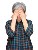 Middleage asian woman cover eyes — Stock Photo