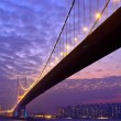 Tsing Ma Bridge at Hongkong - Stockfoto
