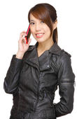 Asian young woman calling by phone — Stock Photo
