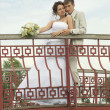 Newly-married couple on bridge — Stock Photo #10148086